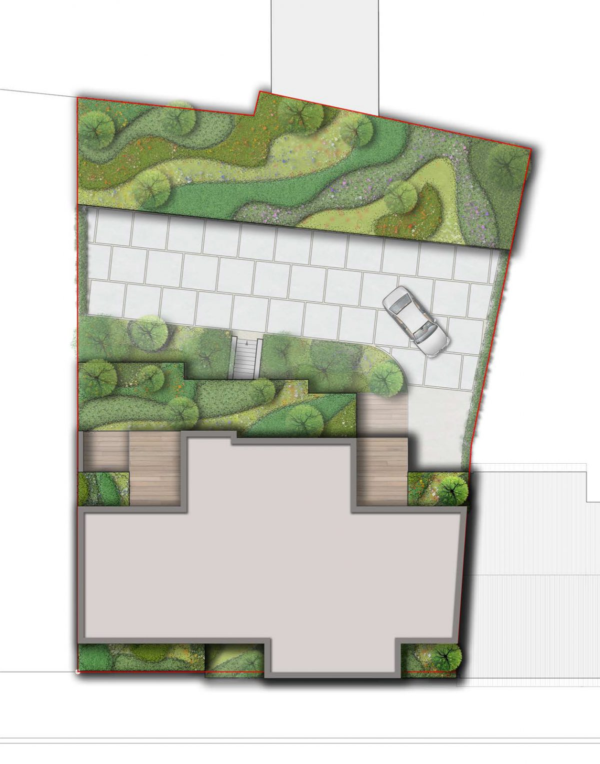 Sfeerbeeld van een tekenplan voor het woonproject in Brustem